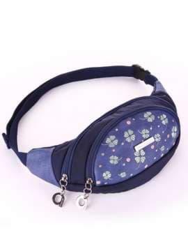 Модна сумка на пояс з вышивкою, модель 183882 синій. Зображення товару, вид збоку.