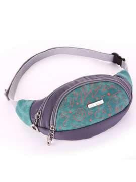 Модна сумка на пояс з вышивкою, модель 183883 сіро-зелений. Зображення товару, вид збоку.