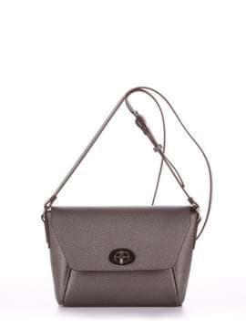 Модная сумка маленькая, модель 180325 серый. Изображение товара, вид спереди.