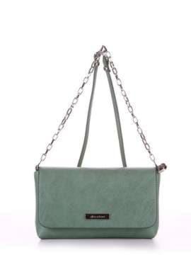 Модный клатч, модель 180332 зеленый. Изображение товара, вид спереди.