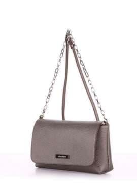 Стильный клатч, модель 180335 серый. Изображение товара, вид сбоку.