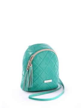 Женский мини-рюкзак с вышивкой, модель 171543 зеленый. Изображение товара, вид сбоку.