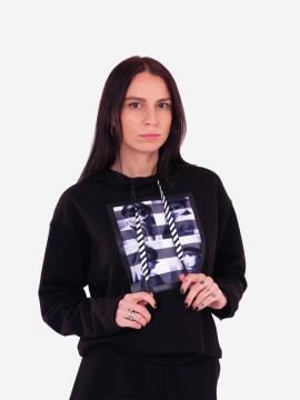 Фото товара: женский костюм с кюлотами L черный (202-013-01). Вид 2.
