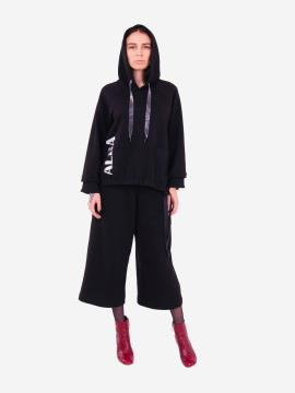 Фото товара: женский костюм с кюлотами L черный (202-015-01). Вид 1.