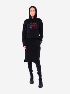 Фото товара: жіночий костюм з юбкою L чорний (202-011-03). Вид 1.