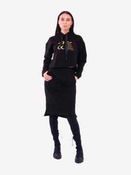 Фото товара: жіночий костюм з юбкою L чорний (202-012-03). Вид 1.