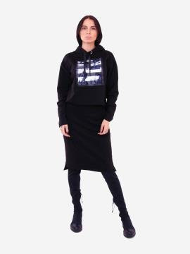 Фото товара: жіночий костюм з юбкою L чорний (202-013-03). Вид 1.