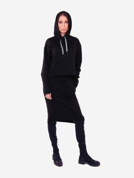 Фото товара: жіночий костюм з юбкою L чорний (202-014-03). Вид 1.