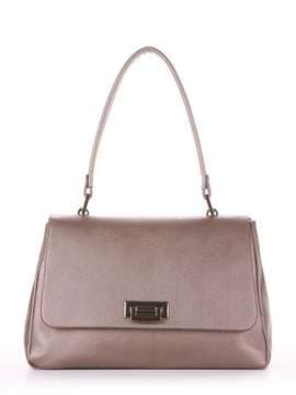 Стильная сумка-портфель, модель 181532 бронза. Изображение товара, вид спереди.