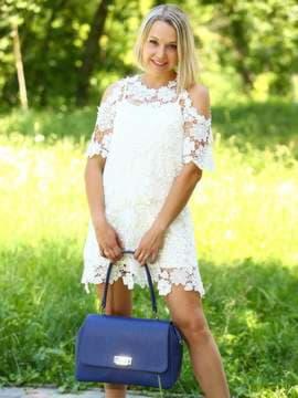 Стильная сумка-портфель, модель 181533 синий. Изображение товара, вид сбоку.
