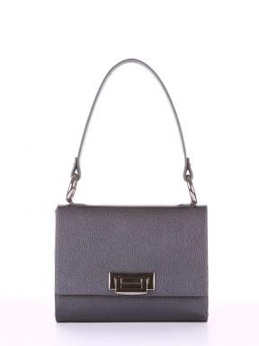 Стильная сумка маленькая, модель E18026 графит. Изображение товара, вид спереди.