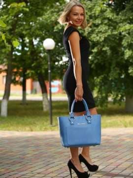 Стильная сумка, модель 181724 голубая волна. Изображение товара, вид сбоку.