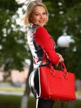 Брендовая сумка, модель 181726 красный. Изображение товара, вид сбоку.