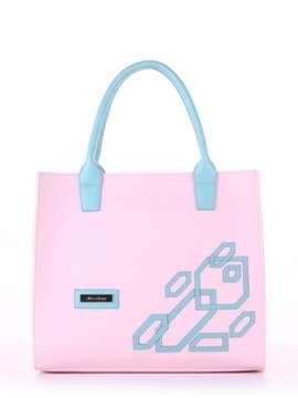 Молодежная сумка с вышивкой, модель E18001 гортензия-мята. Изображение товара, вид спереди.