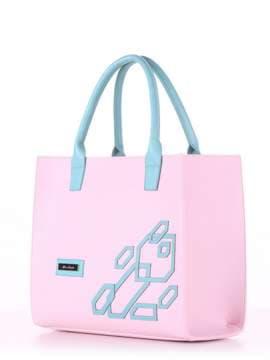 Молодежная сумка с вышивкой, модель E18001 гортензия-мята. Изображение товара, вид сбоку.