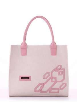 Молодежная сумка с вышивкой, модель E18002 французкий серый-розовый. Изображение товара, вид спереди.