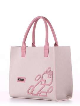 Молодежная сумка с вышивкой, модель E18002 французкий серый-розовый. Изображение товара, вид сбоку.
