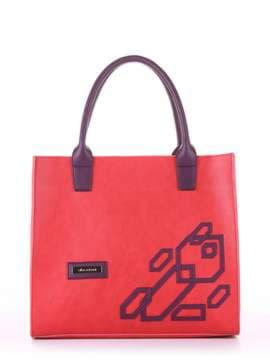 Брендовая сумка с вышивкой, модель E18003 красный-баклажан. Изображение товара, вид спереди.