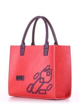 Брендовая сумка с вышивкой, модель E18003 красный-баклажан. Изображение товара, вид сбоку.