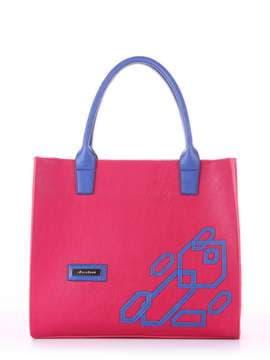 Брендовая сумка с вышивкой, модель E18004 ягода-синий. Изображение товара, вид спереди.