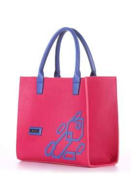 Брендовая сумка с вышивкой, модель E18004 ягода-синий. Изображение товара, вид сбоку.