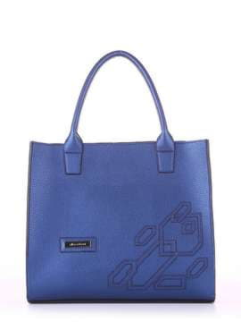 Брендовая сумка с вышивкой, модель E18005 сапфир. Изображение товара, вид спереди.