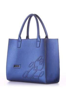 Брендовая сумка с вышивкой, модель E18005 сапфир. Изображение товара, вид сбоку.
