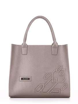 Брендовая сумка с вышивкой, модель E18007 оливковый. Изображение товара, вид спереди.