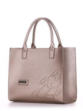 Брендовая сумка с вышивкой, модель E18008 золотая олива. Изображение товара, вид сбоку.