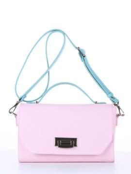Стильная деловая сумочка, модель E18011 гортензия-мята. Изображение товара, вид спереди.