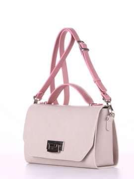 Стильная деловая сумочка, модель E18012 французкий серый-розовый. Изображение товара, вид сбоку.