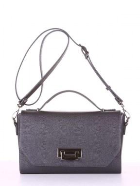 Молодежная деловая сумочка, модель E18016 графит. Изображение товара, вид спереди.