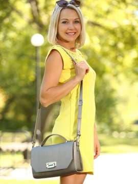Брендова ділова сумочка, модель E18017 оливковий. Зображення товару, вид збоку.