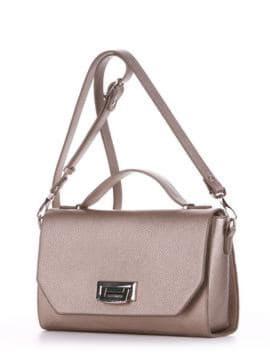 Стильная деловая сумочка, модель E18018 золотая олива. Изображение товара, вид сбоку.