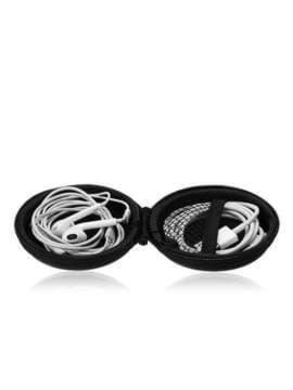 Стильный чехол для наушников каонаси с маской круглый черный. Изображение товара, вид 2