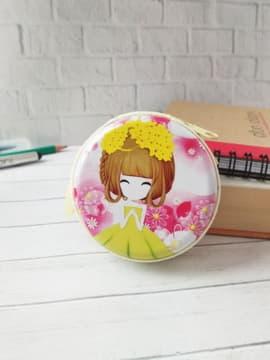 Стильний чохол для навушників з дівчинкою аніме в вінку рожевий. Зображення товару, вид 1