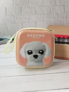 Молодежный чехол для наушников щенок kkoong квардатный персиковый. Изображение товара, вид 1