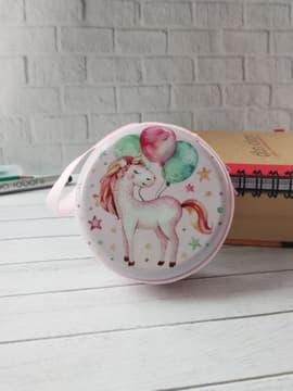 Молодіжний чохол для навушників єдиноріг з кульками круглий рожевий. Зображення товару, вид 1