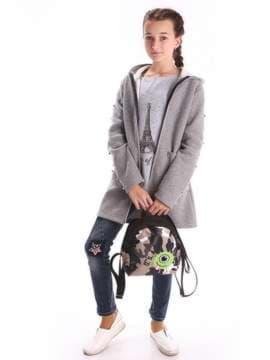 Стильный детский рюкзак с вышивкой, модель 1955 коралловый/серый. Изображение товара, вид дополнительный.
