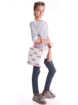 Стильная детская сумочка с вышивкой, модель 1932 белый-бирюзовый. Изображение товара, вид дополнительный.