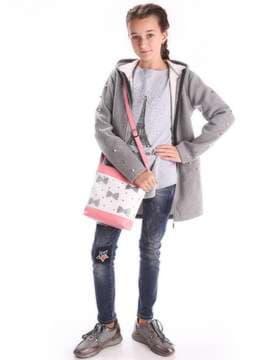 Стильная детская сумочка с вышивкой, модель 1942 белый-бирюзовый. Изображение товара, вид дополнительный.