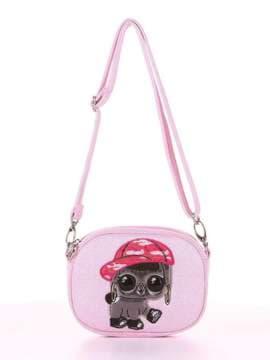 Модная сумочка на пояс с вышивкой, модель 1915 розовый. Изображение товара, вид сбоку.