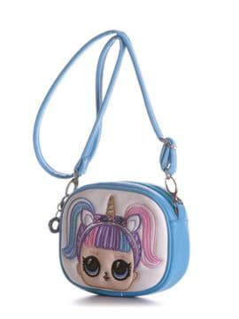 Женская сумочка на пояс с вышивкой, модель 1961 голубой. Изображение товара, вид сбоку.
