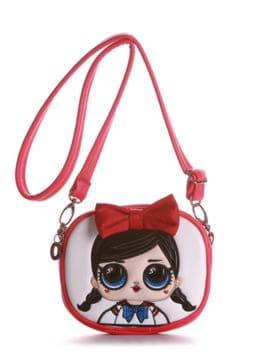 Модная сумочка на пояс с вышивкой, модель 1963 красный-коралловый. Изображение товара, вид спереди.