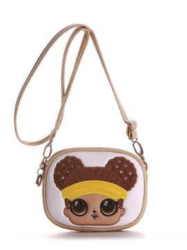 Молодежная сумочка на пояс с вышивкой, модель 1964 золото. Изображение товара, вид спереди.