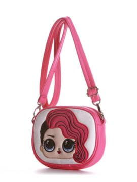Молодежная сумочка на пояс с вышивкой, модель 1965 малиновый. Изображение товара, вид сбоку.