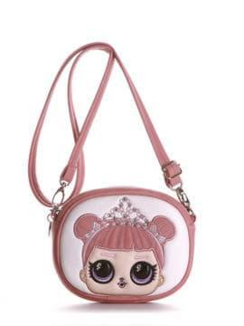 Модная сумочка на пояс с вышивкой, модель 1966 светло-розовый. Изображение товара, вид спереди.