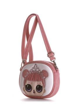 Модная сумочка на пояс с вышивкой, модель 1966 светло-розовый. Изображение товара, вид сбоку.