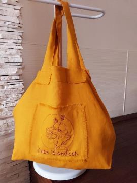 Фото товара: лляна сумка гірчична. Вид 1.
