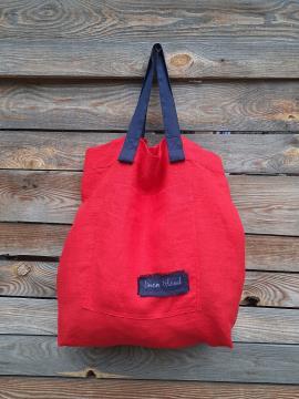 Фото товара: лляна сумка червона. Вид 1.